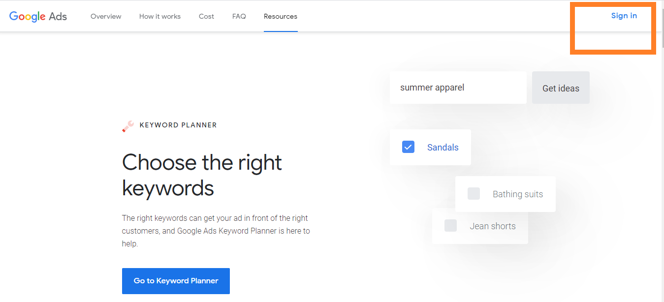 Google keyword planner sign in page