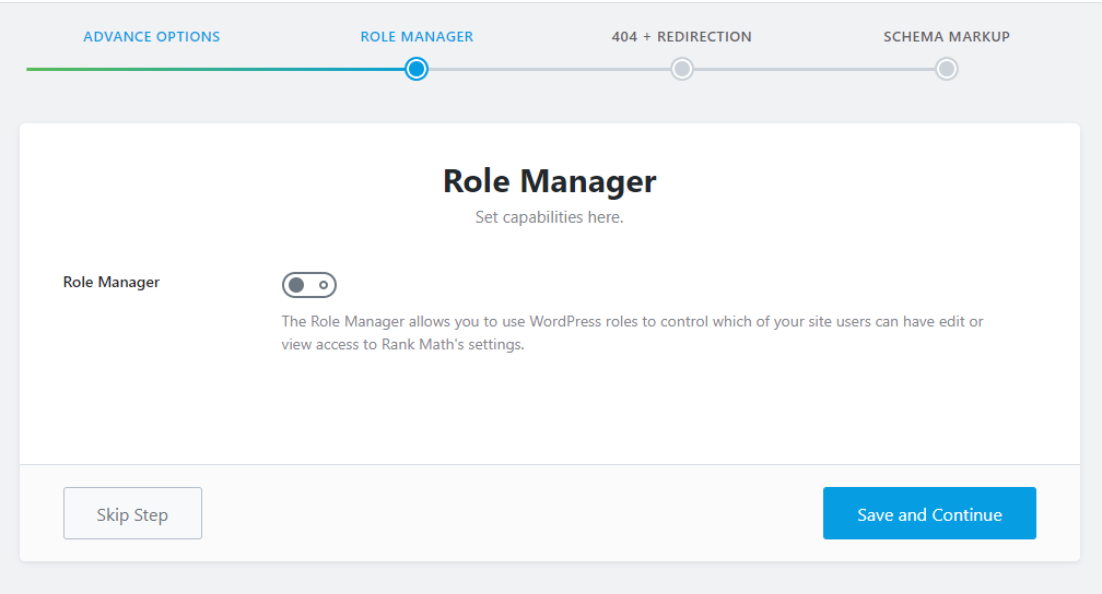 role manager section in rank math
