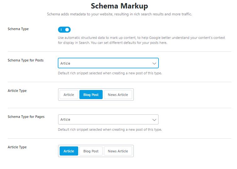 schema markup section
